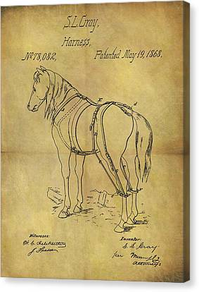1868 Horse Harness Patent Canvas Print by Dan Sproul