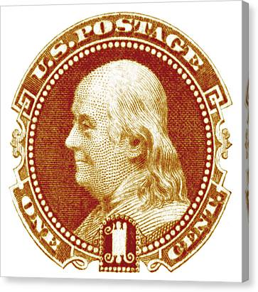 1869 Benjamin Franklin Stamp Canvas Print by Historic Image