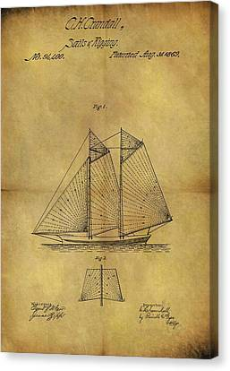 1869 Sailing Ship Patent Canvas Print