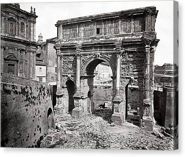Canvas Print featuring the photograph 1870 Arch Of Septimius Severus Rome Italy by Historic Image