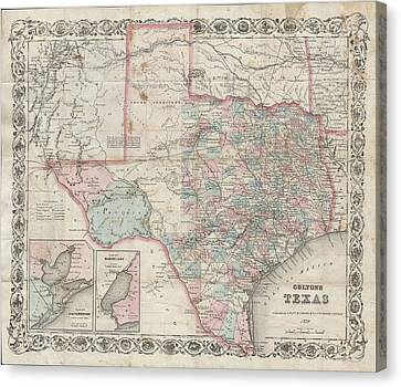 1870 Colton Pocket Map Of Texas Canvas Print