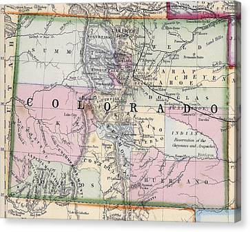Fort Collins Canvas Print - 1870 Map Of Colorado by Daniel Hagerman