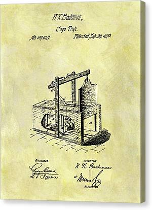 Canvas Print featuring the mixed media 1870 Mousetrap Patent by Dan Sproul