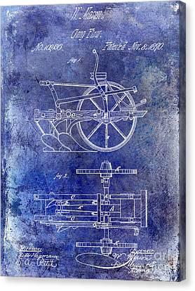 Plow Horse Canvas Print - 1870 Plow Patent Blue by Jon Neidert