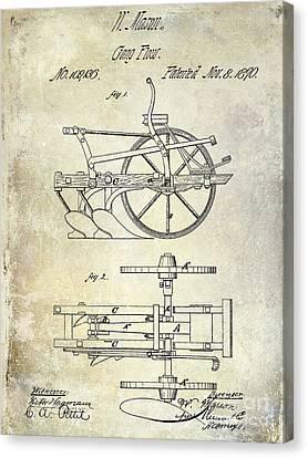 Plow Horse Canvas Print - 1870 Plow Patent by Jon Neidert