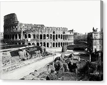 Canvas Print featuring the photograph 1870 The Colosseum Of Rome Italy by Historic Image