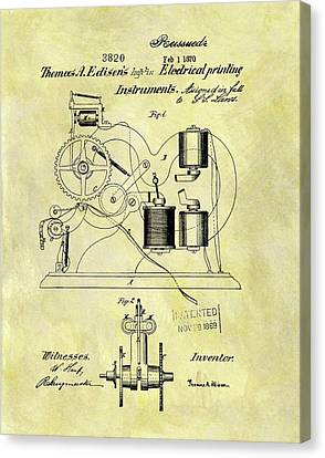 1870 Thomas Edison Patent Canvas Print by Dan Sproul