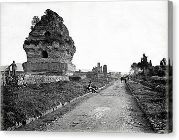 Canvas Print featuring the photograph 1870 Visiting Roman Ruins Along The Appian Way by Historic Image