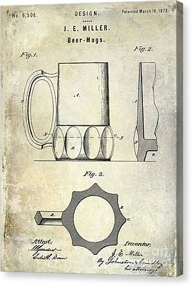 1873 Beer Mug Patent Canvas Print by Jon Neidert