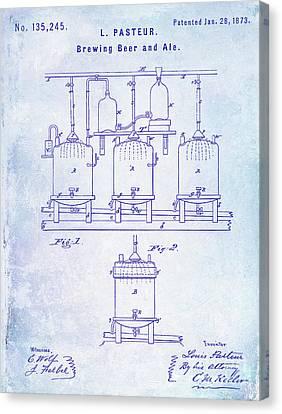 1873 Beer Patent Blueprint Canvas Print