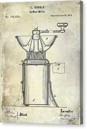 1873 Coffee Mill Patent Canvas Print by Jon Neidert