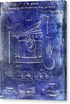 1873 Draft Beer Patent Blue Canvas Print