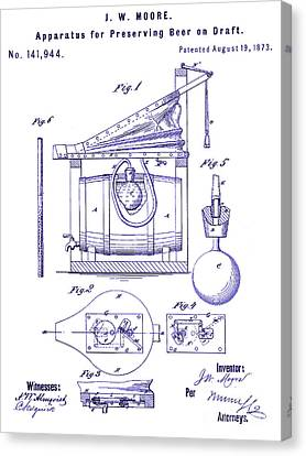 Stein Canvas Print - 1873 Draft Beer Patent Blueprint by Jon Neidert