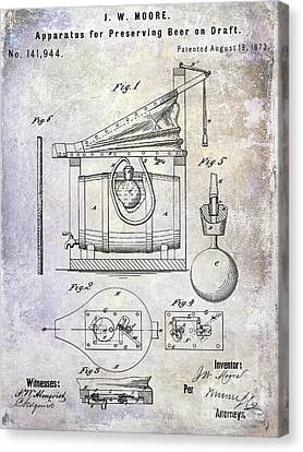 Stein Canvas Print - 1873 Draft Beer Patent by Jon Neidert