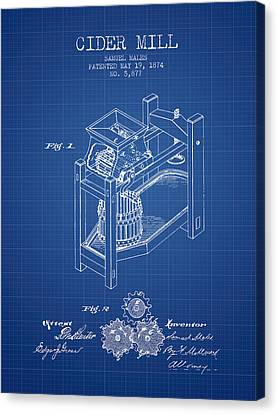 Old Mills Canvas Print - 1874 Cider Mill Patent - Blueprint 02 by Aged Pixel
