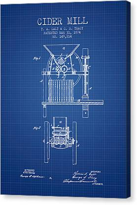 Old Mills Canvas Print - 1874 Cider Mill Patent - Blueprint by Aged Pixel