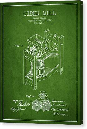 Old Mills Canvas Print - 1874 Cider Mill Patent - Green 02 by Aged Pixel