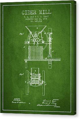 1874 Cider Mill Patent - Green Canvas Print by Aged Pixel