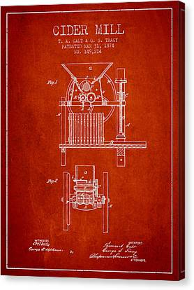 Old Mills Canvas Print - 1874 Cider Mill Patent - Red by Aged Pixel