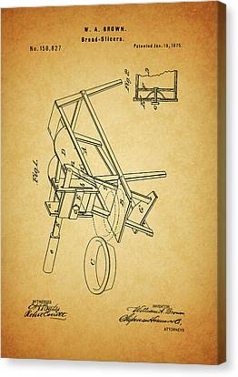 Culinary Canvas Print - 1875 Bread Slicer Patent by Dan Sproul