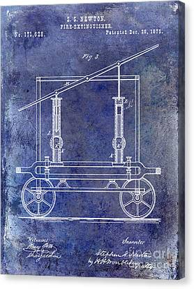 1875 Fire Extinguisher Patent Blue Canvas Print