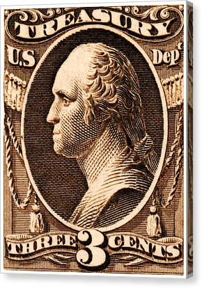 Canvas Print featuring the painting 1875 George Washington Treasury Department Stamp by Historic Image