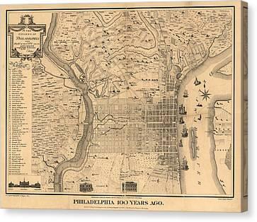 1875 Philadelphia Map Canvas Print