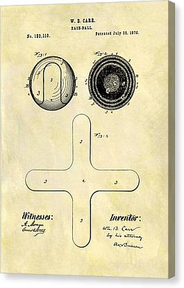 1876 Baseball Patent Canvas Print by Dan Sproul
