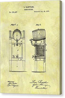 1876 Beer Cooler Patent Canvas Print by Dan Sproul