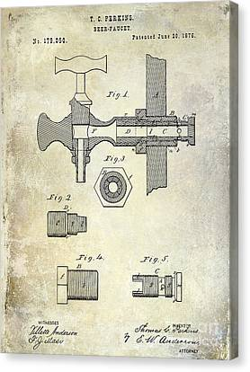 1876 Beer Faucet Patent Canvas Print