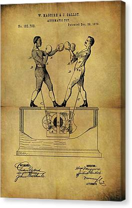 1876 Boxing Toy Patent Canvas Print by Dan Sproul