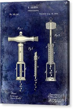 Napa Valley Vineyard Canvas Print - 1876 Corkscrew Patent Drawing 2 Tone Blue by Jon Neidert