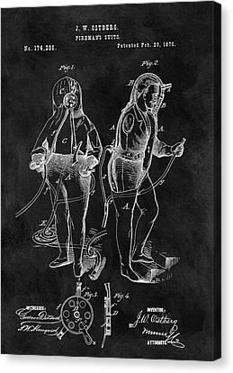 1876 Fireman Suit Patent Canvas Print by Dan Sproul