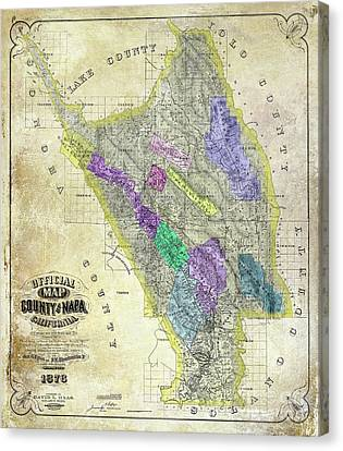 1876 Napa Valley Map Canvas Print by Jon Neidert
