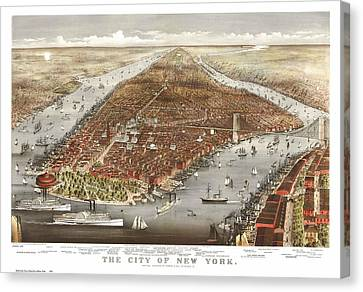 1876 New York City Map Canvas Print by Dan Sproul