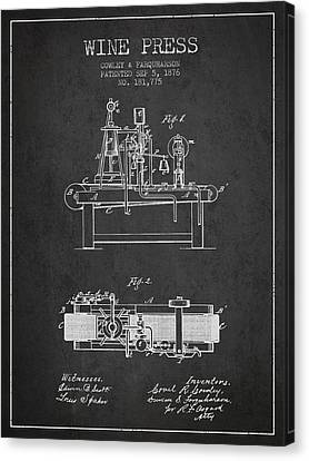1876 Wine Press Patent - Charcoal Canvas Print by Aged Pixel