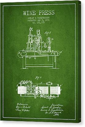 1876 Wine Press Patent - Green Canvas Print by Aged Pixel