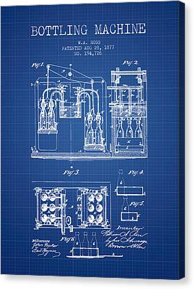 1877 Bottling Machine Patent - Blueprint Canvas Print by Aged Pixel