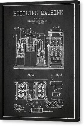 1877 Bottling Machine Patent - Charcoal Canvas Print by Aged Pixel