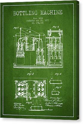 1877 Bottling Machine Patent - Green Canvas Print by Aged Pixel