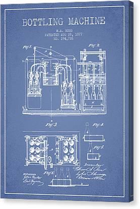 1877 Bottling Machine Patent - Light Blue Canvas Print by Aged Pixel