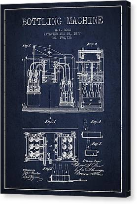 1877 Bottling Machine Patent - Navy Blue Canvas Print by Aged Pixel