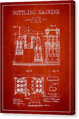 1877 Bottling Machine Patent - Red Canvas Print by Aged Pixel