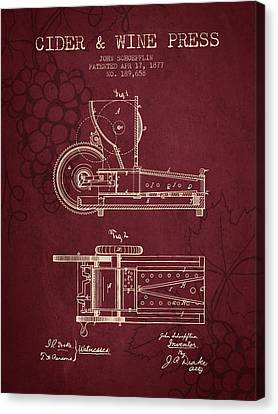 1877 Cider And Wine Press Patent - Red Wine Canvas Print by Aged Pixel