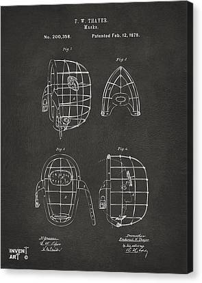 1878 Baseball Catchers Mask Patent - Gray Canvas Print by Nikki Marie Smith