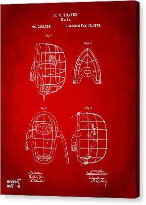 1878 Baseball Catchers Mask Patent - Red Canvas Print by Nikki Marie Smith