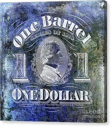 1878 Beer Barrel Tax Stamp Blue Canvas Print