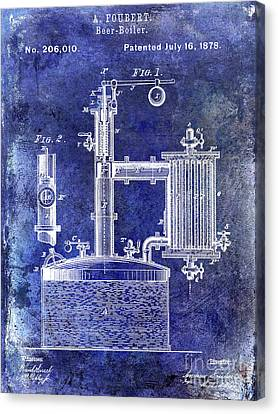 Stein Canvas Print - 1878 Beer Boiler Patent Blue by Jon Neidert