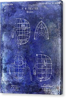1878 Catchers Mask Patent Blue Canvas Print by Jon Neidert