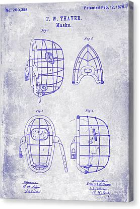 1878 Catchers Mask Patent Blueprint Canvas Print by Jon Neidert
